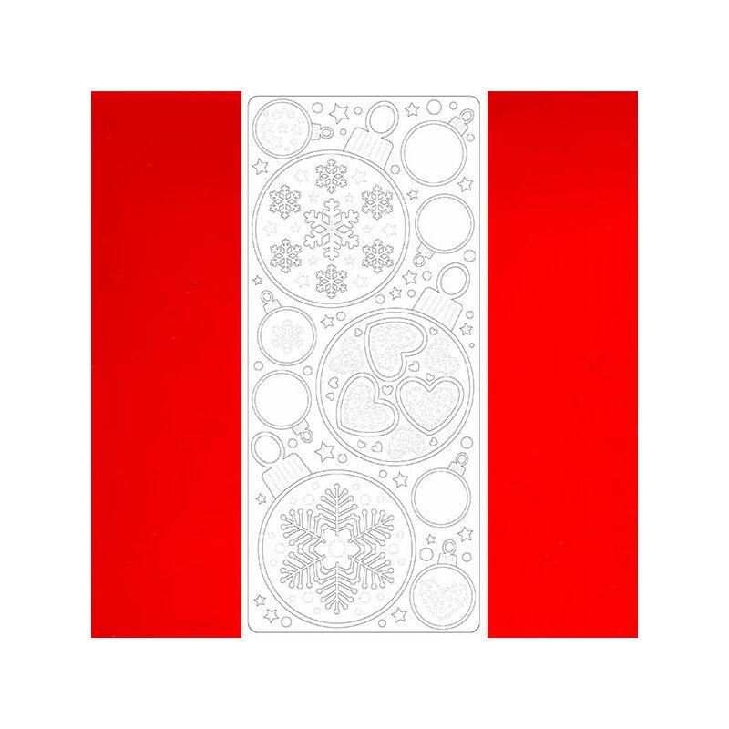 Kontúrmatrica - téli szives gömbdíszek, piros, 2586 - AKCIÓS
