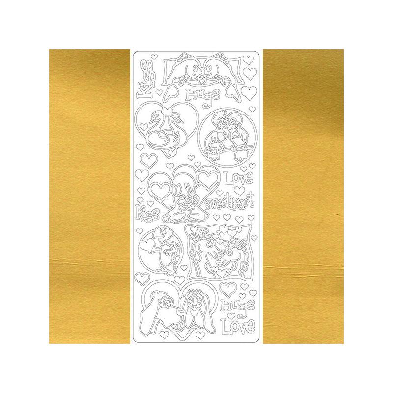 Kontúrmatrica - szerelmes állatok, arany, 2796  - AKCIÓS