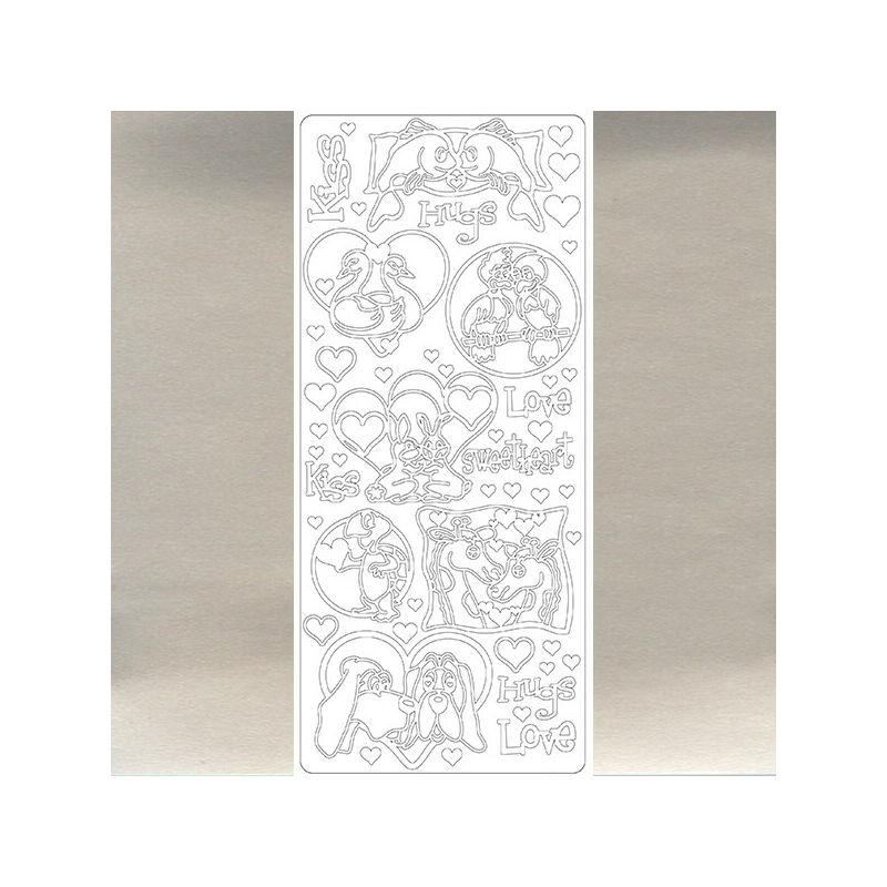 Kontúrmatrica - szerelmes állatok, ezüst, 2796  - AKCIÓS