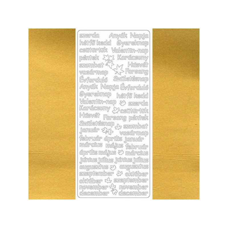 Kontúrmatrica - napok, hónapok, ünnepnapok, arany, 7922  -AKCIÓS