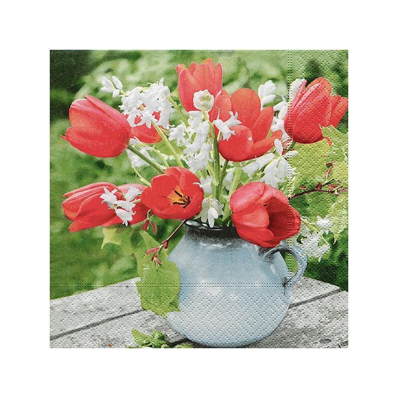 Szalvéta csomagban - Piros tulipánok
