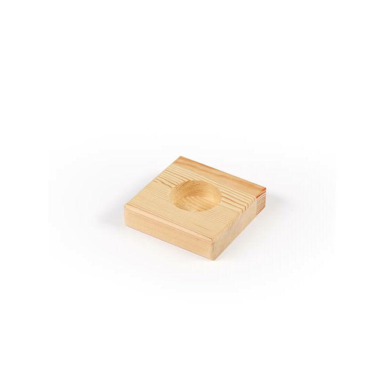 Fa mécsestartó - négyszög, 8x8x2 cm