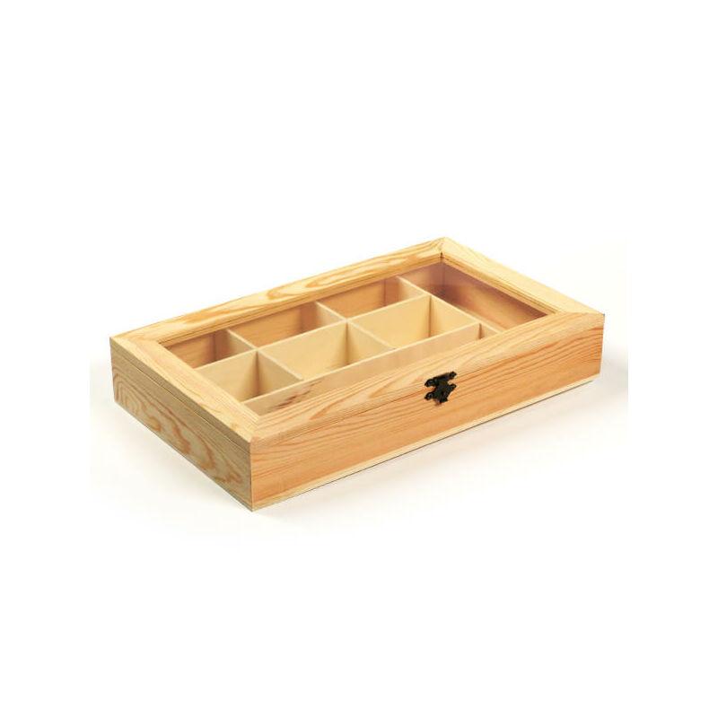 Fa doboz - 8 rekeszes, ablakos, 33x19,5x5,5 cm