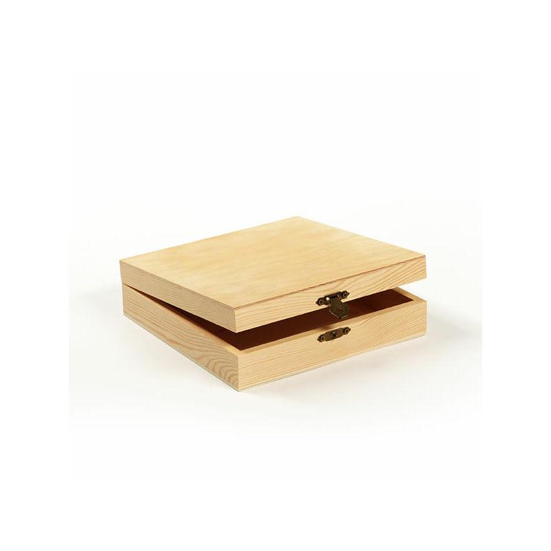 Fa doboz - négyzet, lapos, 18,5x18,5x5 cm