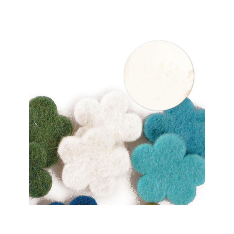 Filc forma, lapos - virág, fehér, darabra