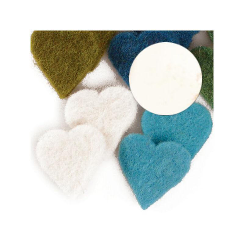 Filc forma, lapos - szív, fehér, darabra
