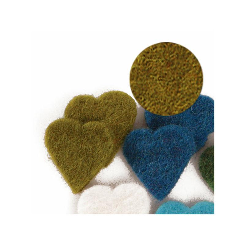 Filc forma, lapos - szív, mohazöld, darabra