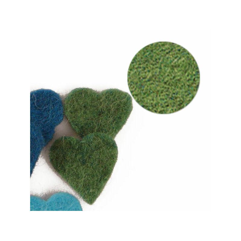 Filc forma, lapos - szív, zöld, darabra
