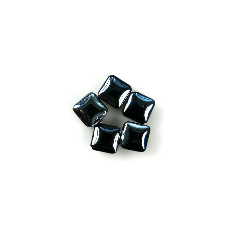 Üveggyöngy Yingli - négyzet, fekete, 5 db