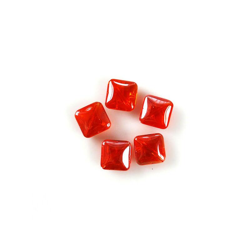 Üveggyöngy Yingli - négyzet, narancs, 5 db