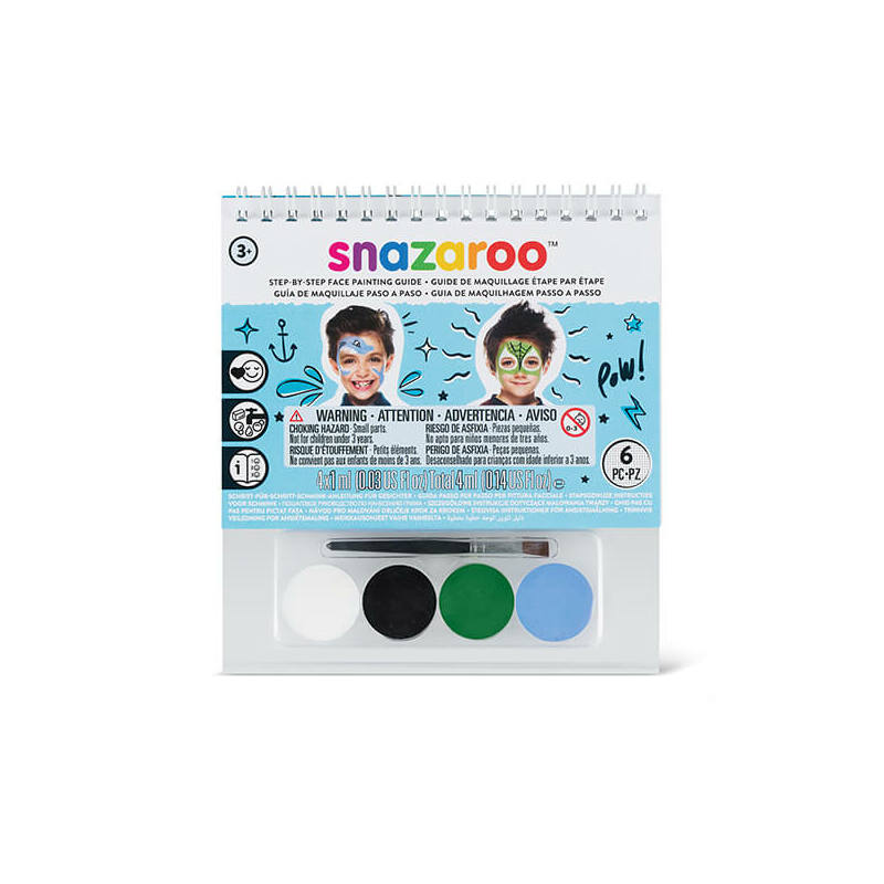 Snazaroo arcfesték készlet + sminkkönyv, 4x1 ml - Fiúknak