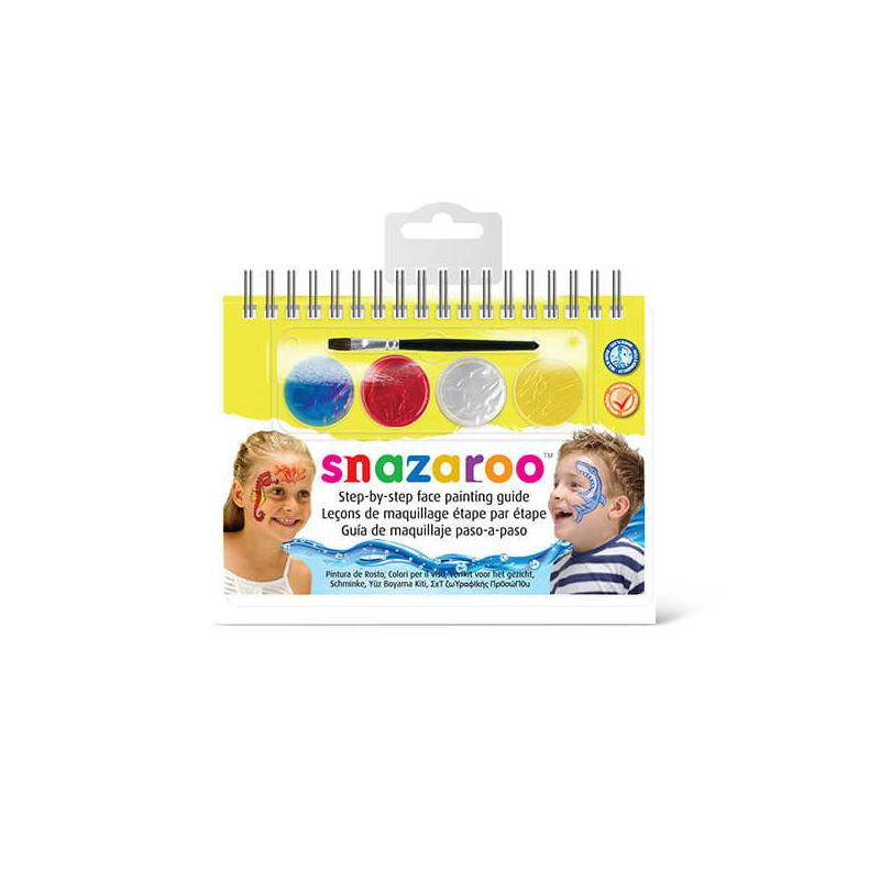 Snazaroo arcfesték készlet + sminkkönyv, 4x1 ml - Unisex, Sea Life