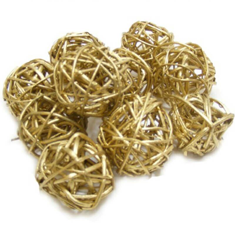 Száraztermés - Vesszőlabda, 3 cm, 4 db - arany