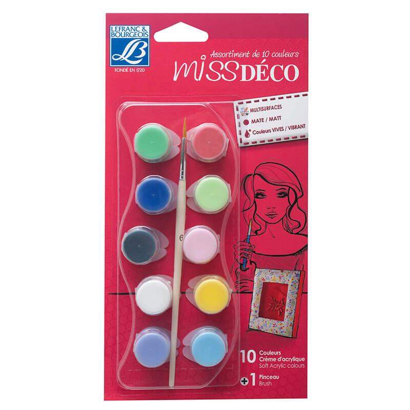 Deco Matt akrilfesték készlet - Miss Déco, 10x4 ml