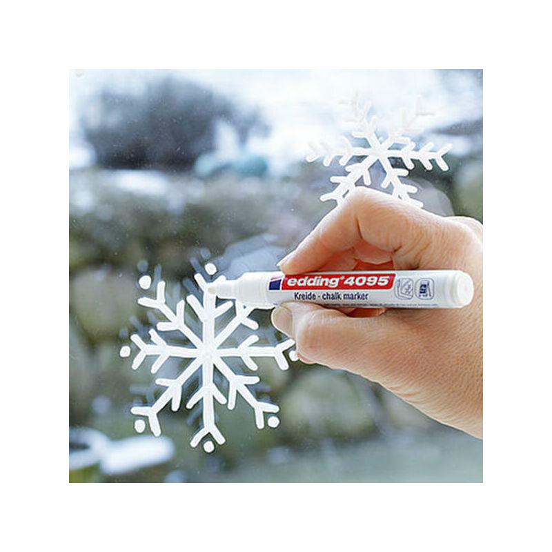 Kréta marker, folyékony kréta, EDDING 4095 - fehér hópehely üvegre