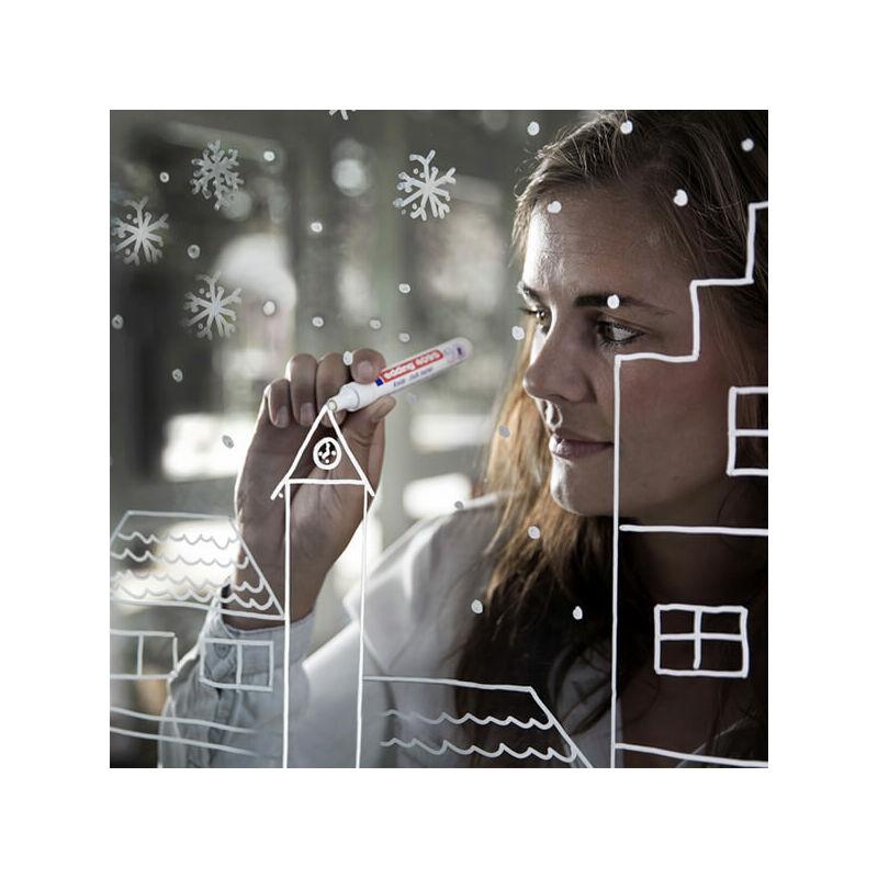 Kréta marker, folyékony kréta, EDDING 4095 - fehér házak üvegre