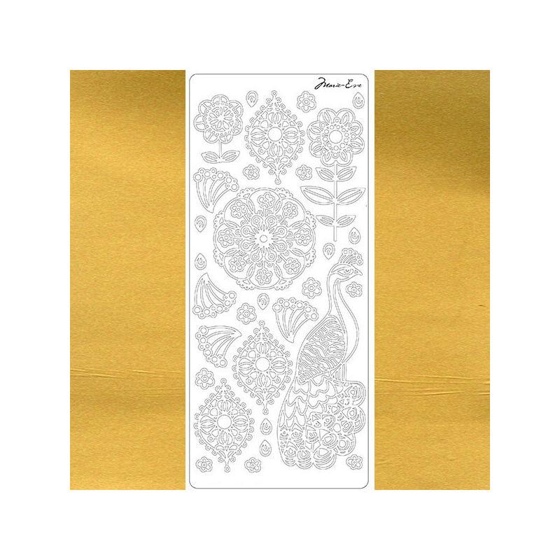 Kontúrmatrica - páva, arany, 4553 - AKCIÓS