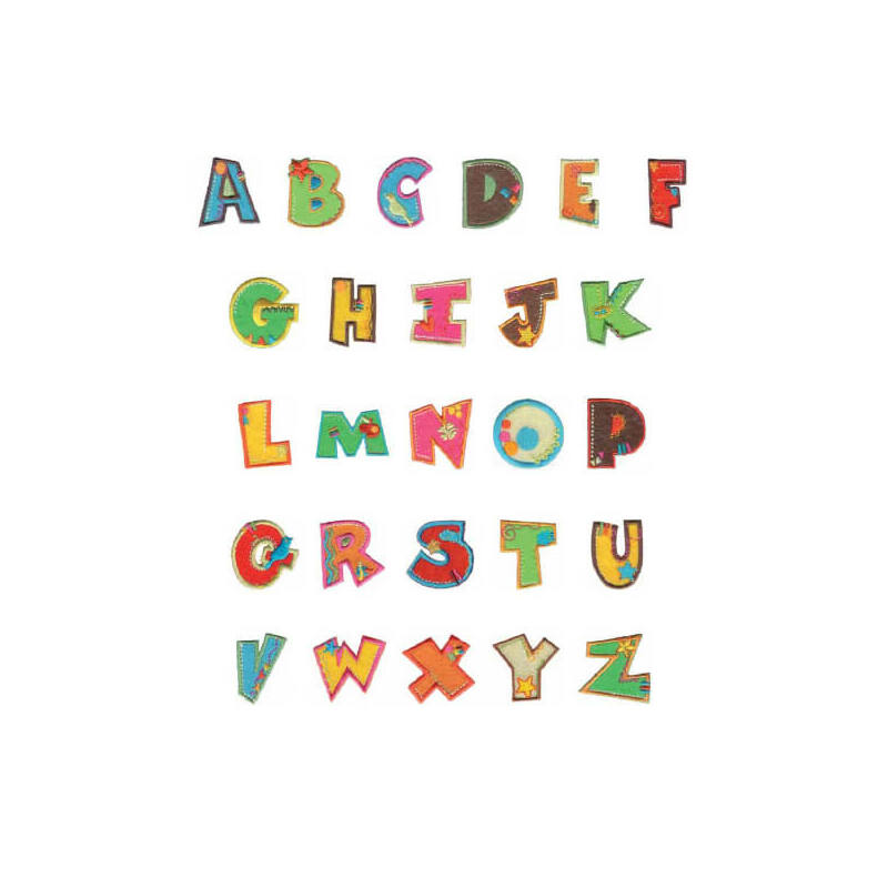 Textil betű, vasalható - P, színes