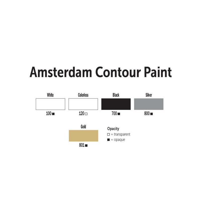 Amsterdam Contour Paint kontúrfesték, kiégethető, 20 ml - fehér, 100