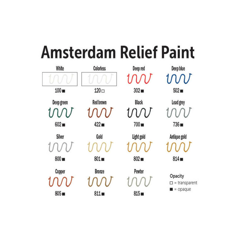 Amsterdam Relief Paint kontúrfesték, nem kiégethető, 20 ml - bronz, 811