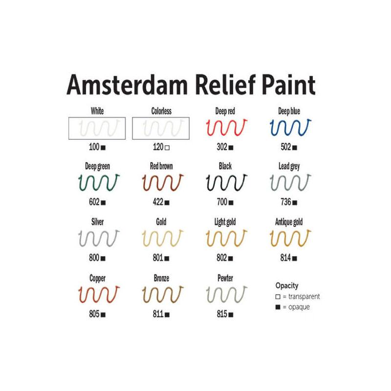 Amsterdam Relief Paint kontúrfesték, nem kiégethető, 20 ml - világos arany, 802
