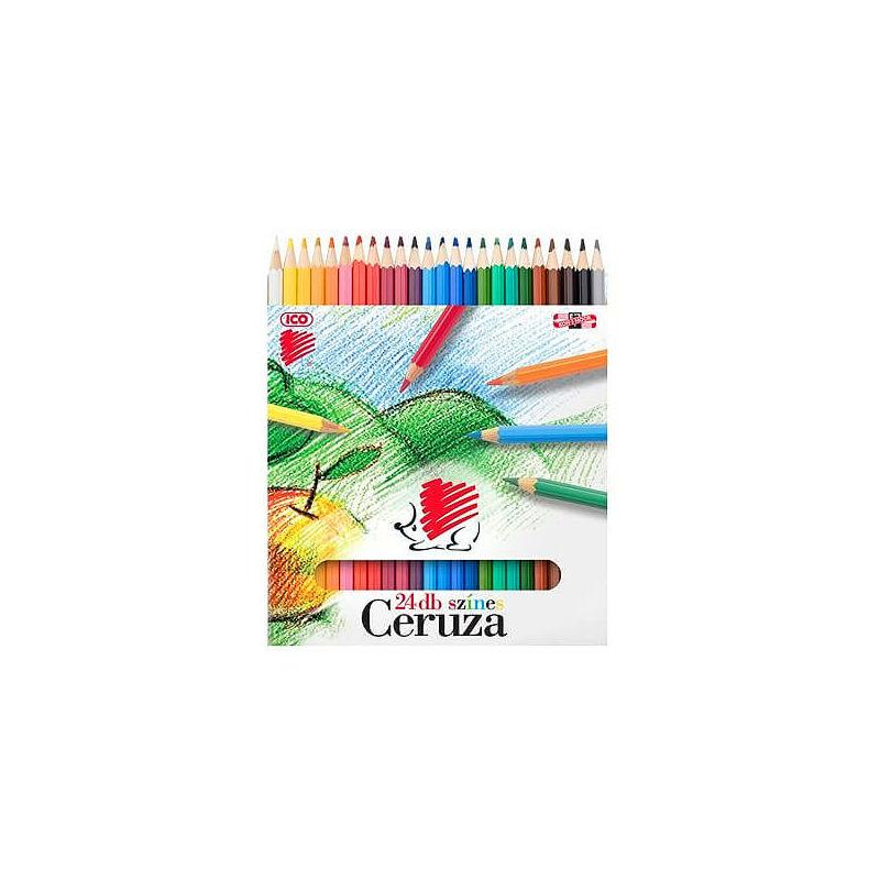 KOH-I-NOOR, Süni színesceruza készlet, 24 db-os, hatszögletű