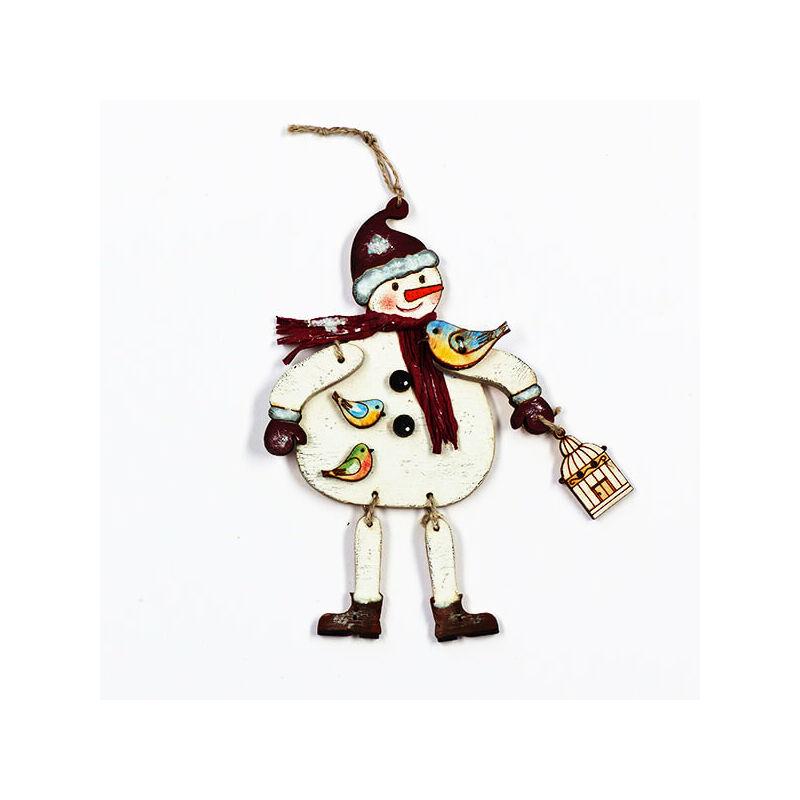 Karácsonyfadísz kézműves csomag - Hóember madárkákkal