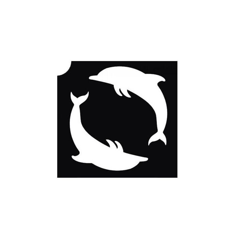 Tetováló sablon, öntapadós stencil - Delfinek 1
