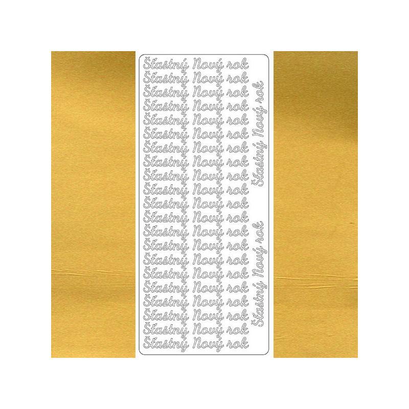 Kontúrmatrica - boldog új évet, szlovák, arany, 7950  - AKCIÓS