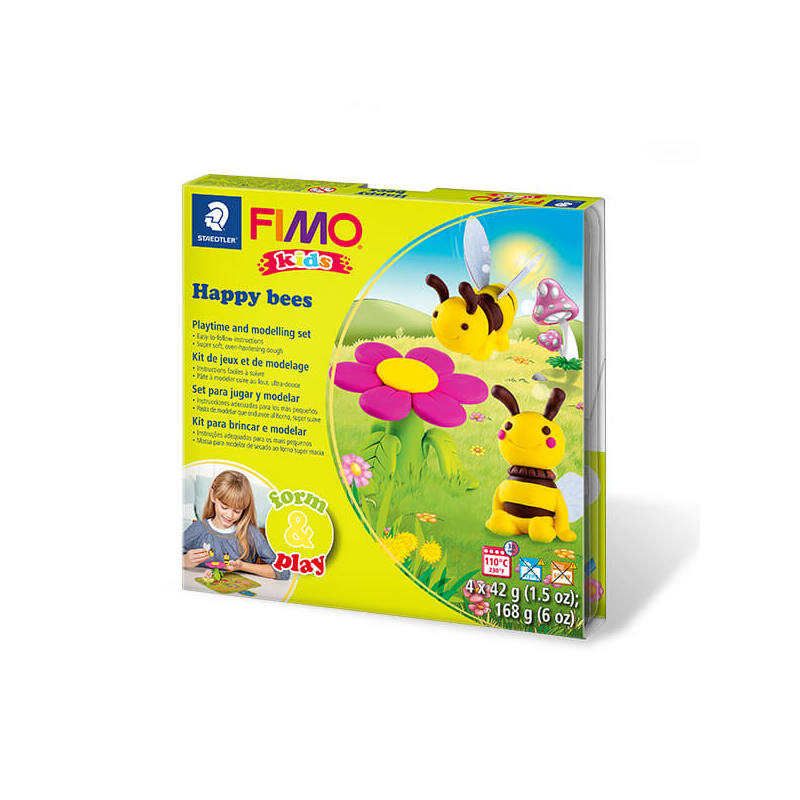FIMO Kids süthető gyurma készlet, Form & Play - 4x42 g - méhek