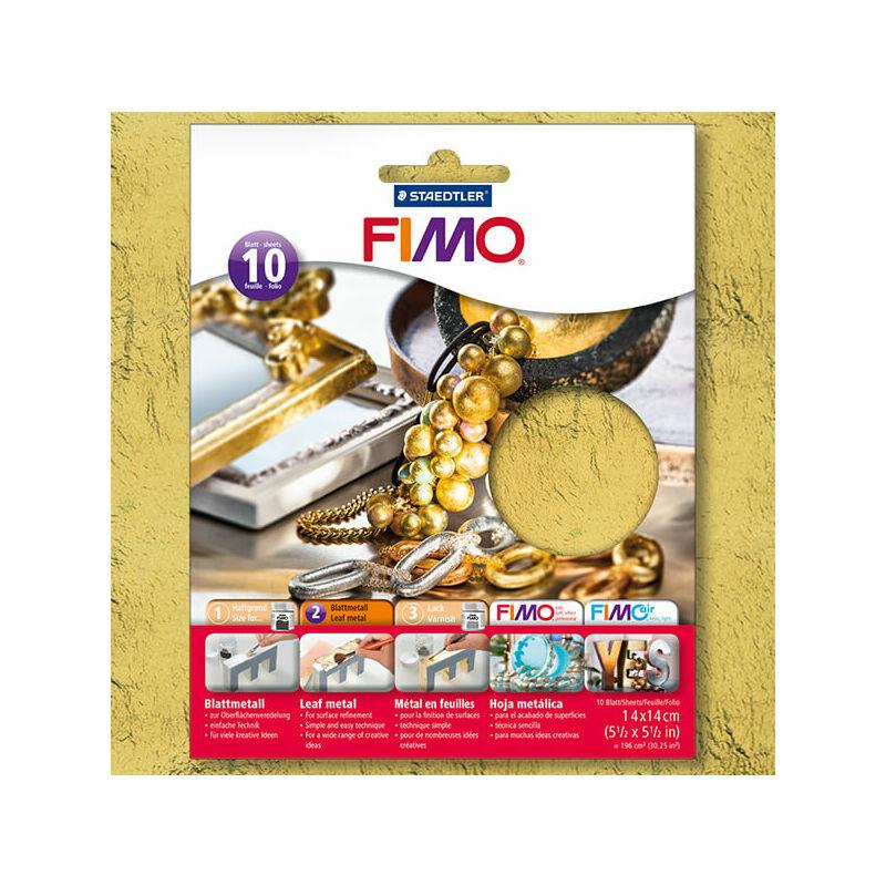 FIMO metállap aranyfüst, 14x14 cm - arany, 10 lap