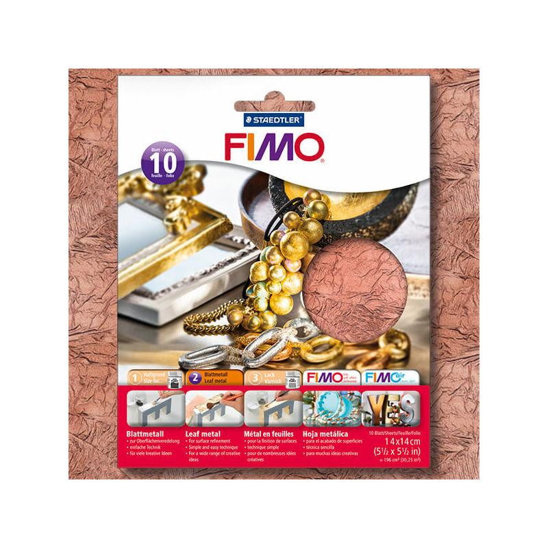 FIMO metállap aranyfüst, 14x14 cm - réz, 10 lap