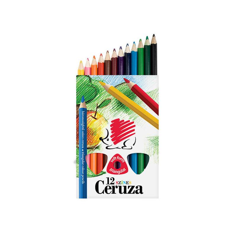 KOH-I-NOOR, Süni színesceruza készlet, 12 db-os, háromszögletű, vastag