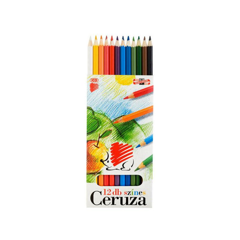 KOH-I-NOOR, Süni színesceruza készlet, 12 db-os, hatszögletű
