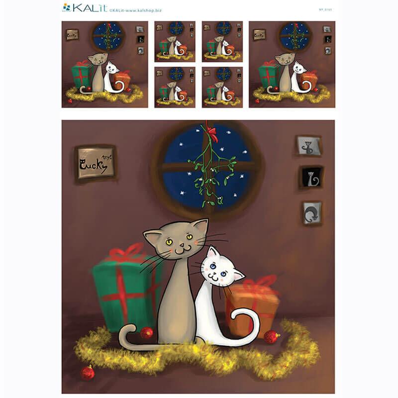 Rizspapír - karácsonyi cicaszerelem