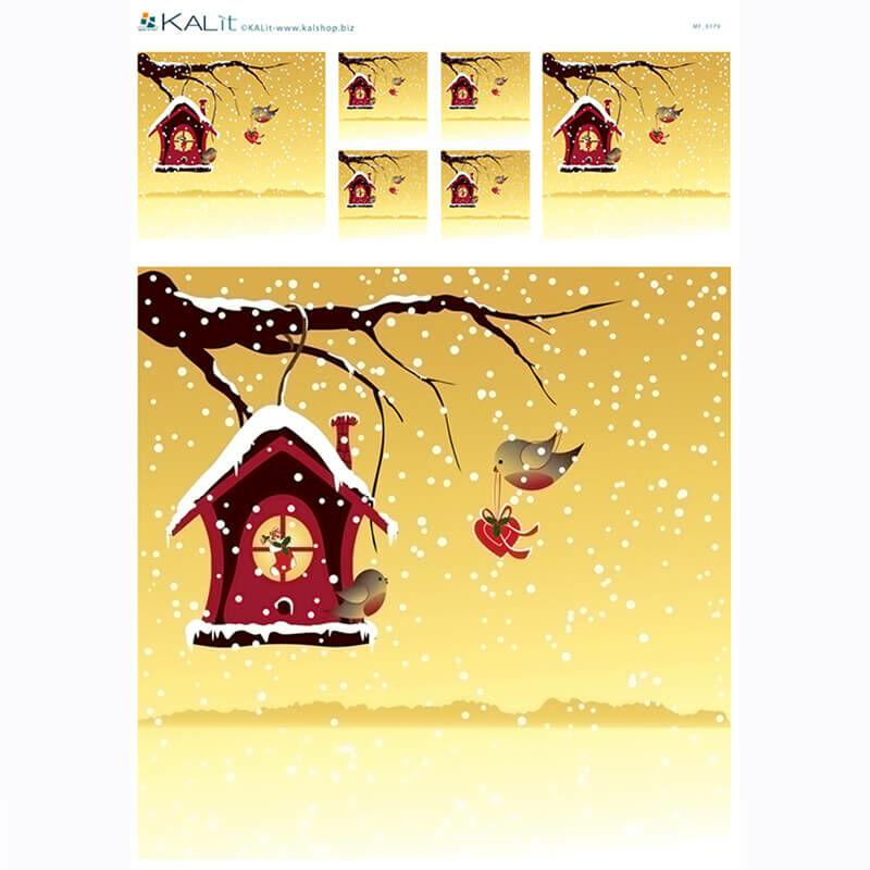 Rizspapír - karácsonyi madárszerelem