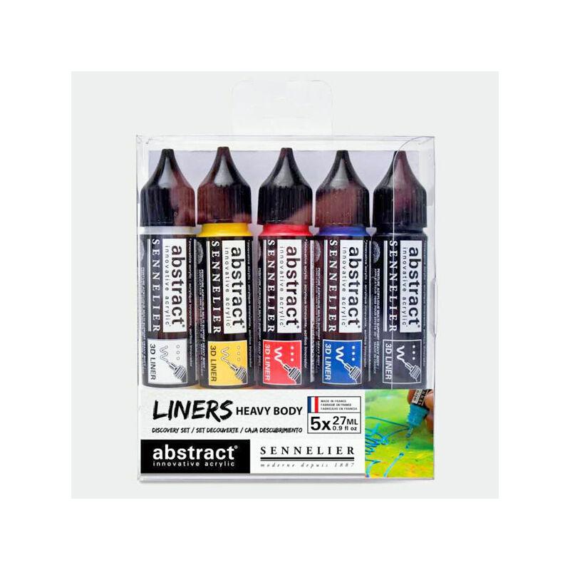 Sennelier Abstract Liners Discovery Set akrilfesték készlet (3D festéktoll), 5 db-os