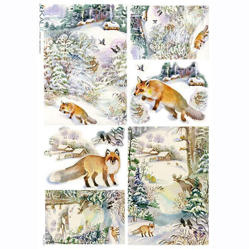 Rizspapír - vadászó róka