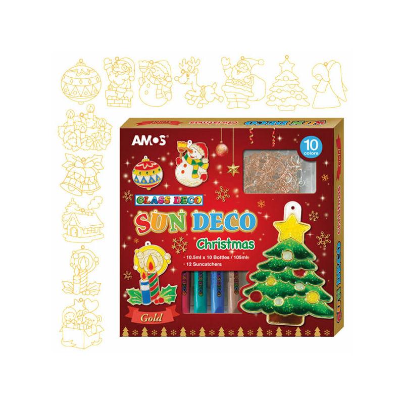 Matricafesték készlet, Amos - Christmas, 10x10,5 ml + 12 fényvarázs forma