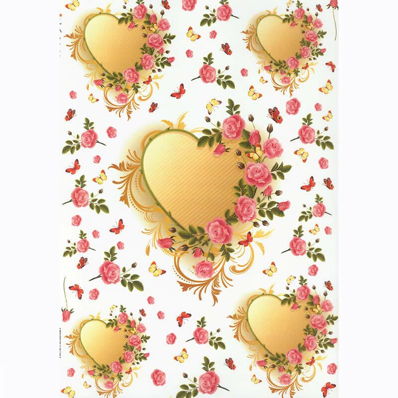 Rizspapír - virágos szívek