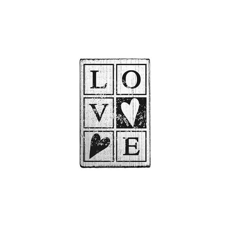 Pecsételő, Woodies, Vintage, 4x6 cm - Love