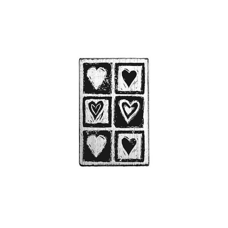 Pecsételő, Woodies, Vintage, 4x6 cm - Hearts