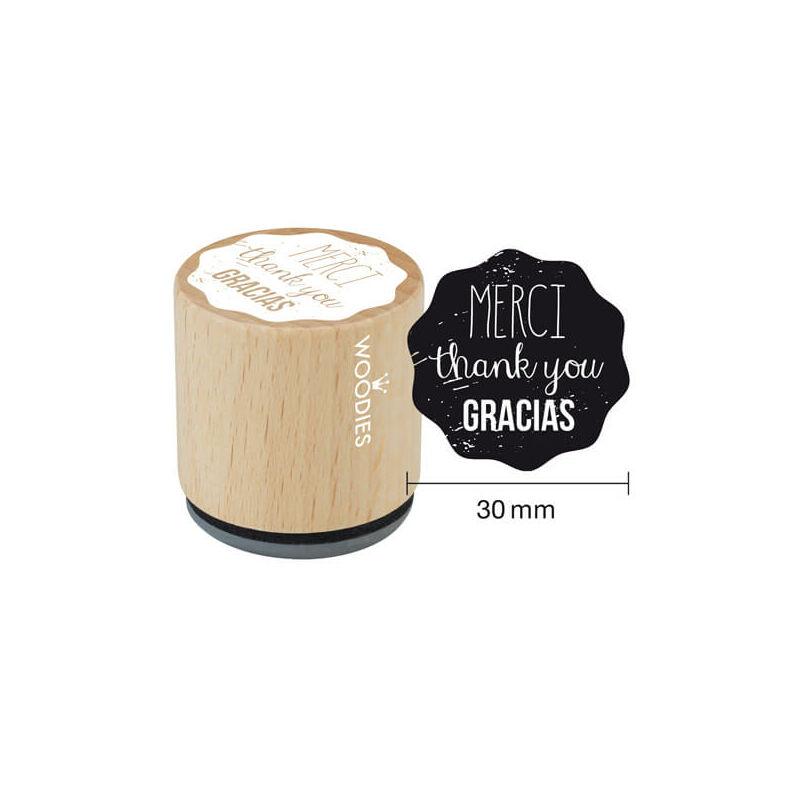 Pecsételő, Woodies, 3 cm - Merci gracias thank you