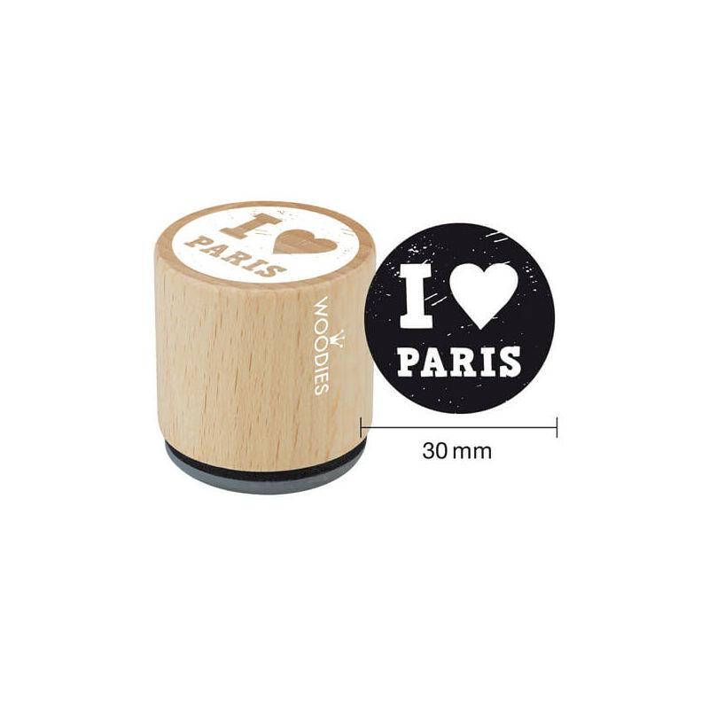 Pecsételő, Woodies, 3 cm - I love Paris