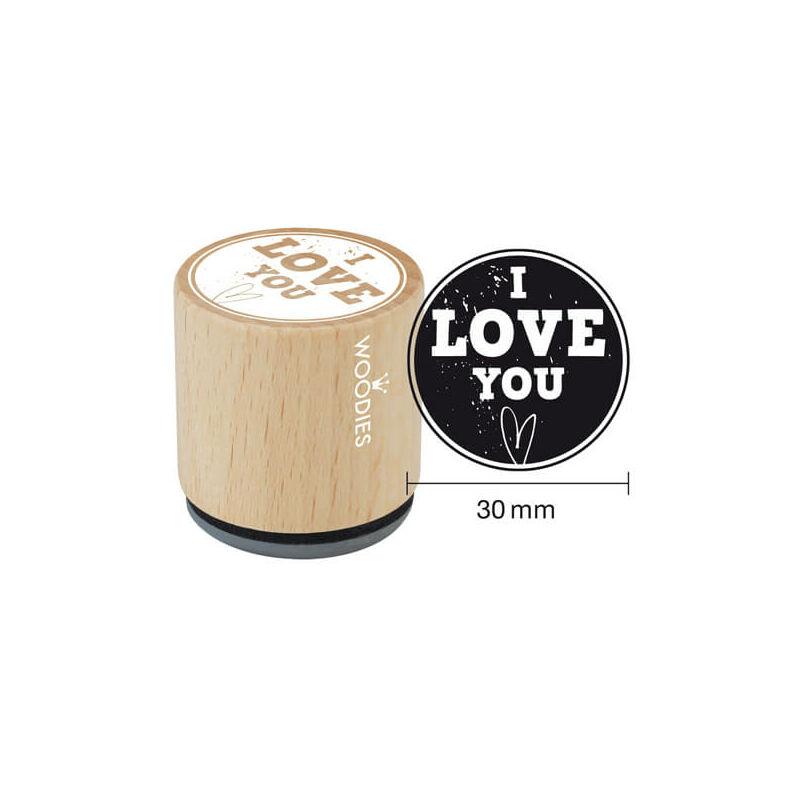 Pecsételő, Woodies, 3 cm - I love you
