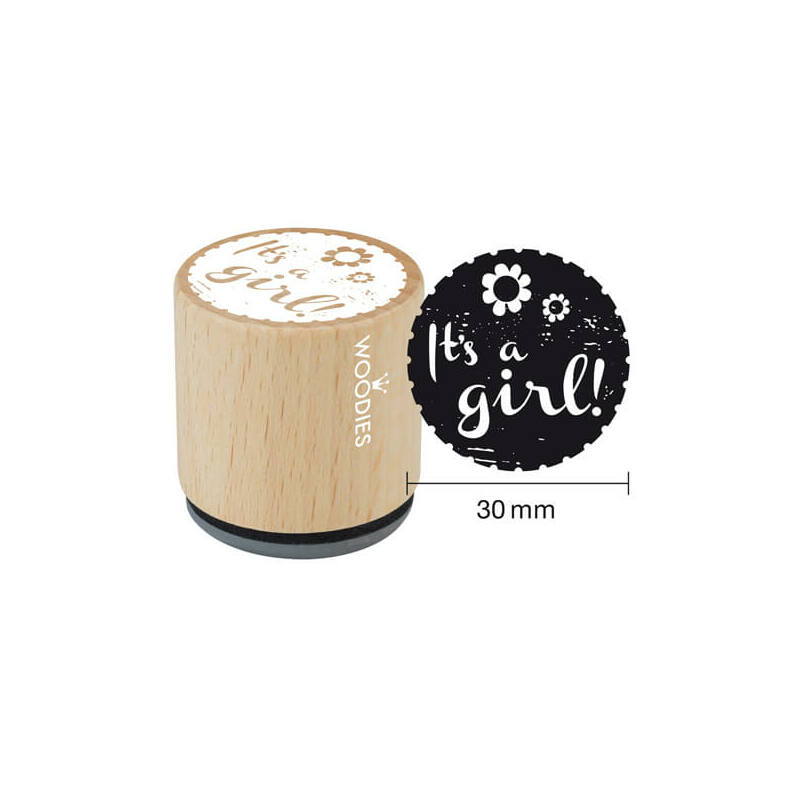 Pecsételő, Woodies, 3 cm - It's a girl