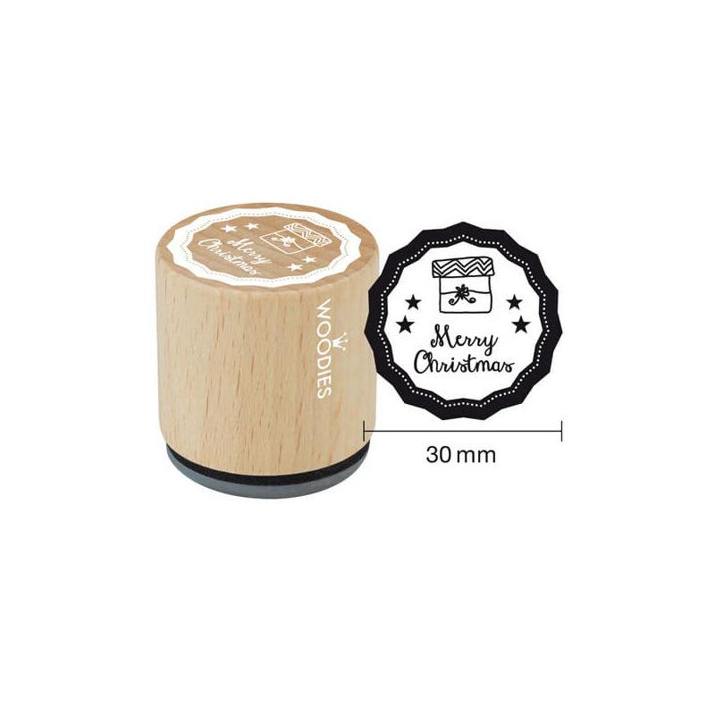 Pecsételő, Woodies, 3 cm - Merry Christmas