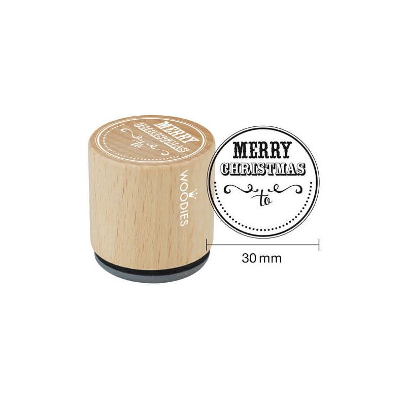 Pecsételő, Woodies, 3 cm - Merry christmas to...