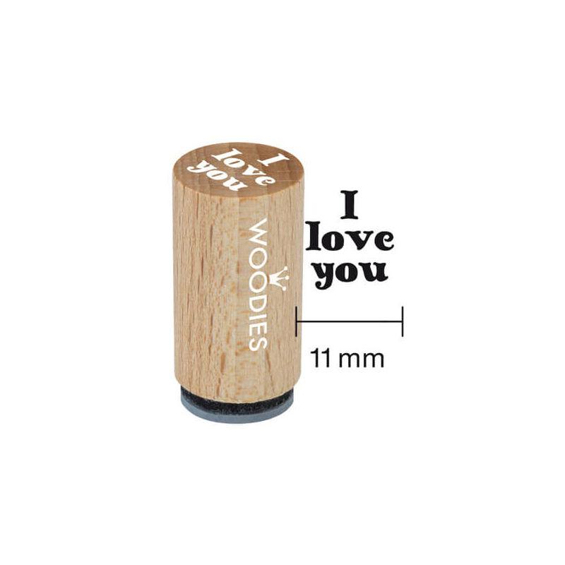Pecsételő, Woodies, 1,3 cm - I love you