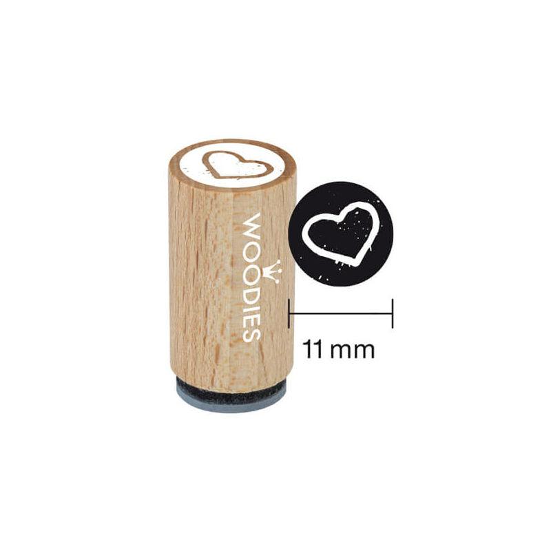 Pecsételő, Woodies, 1,3 cm - Szív kontúr